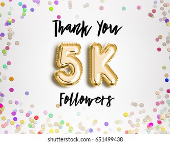 5k or 5000 thank you Gold balloons and colorful confetti, glitters. 3D Illustration for Social Network friends, followers, Web user Thank you celebrate of subscribers or followers, likes.