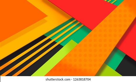 5K abstract monitor wallpaper. Geometric art. Paper cut design. Creative concept - 16:9 wallpaper. UI UX Design element. 3D abstract geometric background. High resolution image. Material design style
