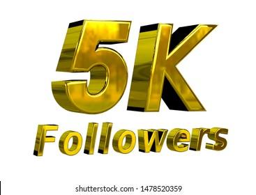 5k followers celebration banner for use in social media. Golden gratitude text isolated over white background. 3D rendering
