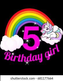 5th birthday girl rainbow