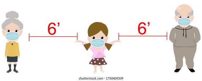 6 foot Social Distancing Illustration Girl and Grandparents