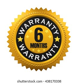 6 Months Warranty Sign. 3D rendering