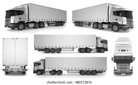6 x Big Truck Background - Blank mockup for design - 3D illustration