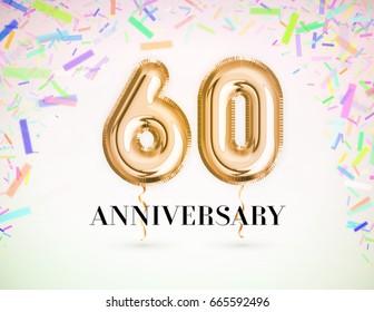 60 Anniversary celebration with Brilliant Gold balloons & colorful alive confetti. 3d Illustration design for your unique anniversary background,invitation,card,Celebration party the years anniversary