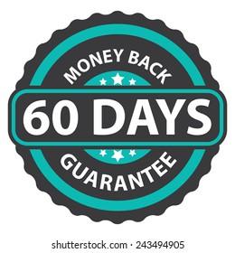60 days money back guarantee on blue vintage, retro sticker, badge, icon, stamp isolated on white