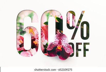 60% off discount promotion sale Brilliant poster, banner, ads. Precious Paper cut with real Orchid flowers and leaves. For your unique selling poster / banner promotion offer percent discount ads.