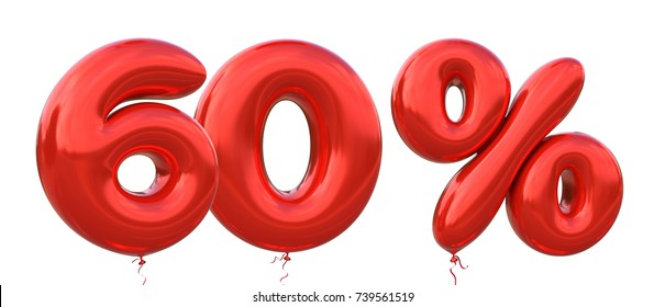 60% off discount promotion sale made of realistic 3d Red helium balloons. Illustration of balloon percent discount collection for your unique selling poster, banner ads ; Christmas, Xmas sale and more
