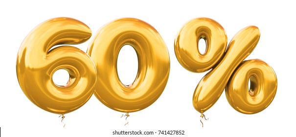 60% off discount promotion sale made of realistic 3d gold helium balloons. Illustration of balloon percent discount collection for your unique selling poster,banner ads ; Christmas, Xmas sale and more