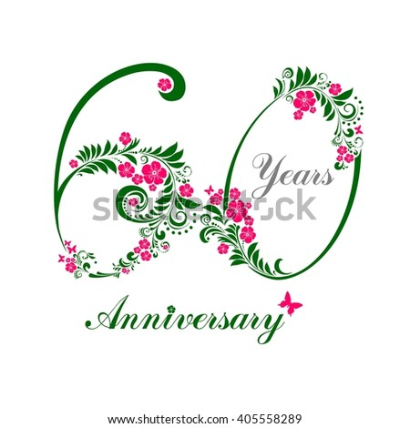 60 Years Anniversary Happy Birthday Card Celebration Background With Number Sixty And Place For
