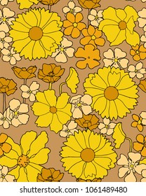 60s inspired floral wallpaper