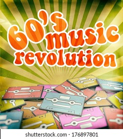 60s music revolution vintage poster design. Retro concept on old audio cassettes