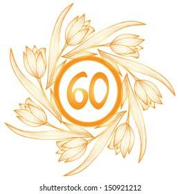 60th anniversary golden floral banner