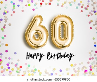60th Birthday celebration with gold balloons and colorful confetti glitters. 3d Illustration design for your greeting card, birthday invitation and Celebration party of sixty years anniversary