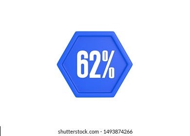 62 percent text written in white with blue color isolated on white background, 3d illustration.