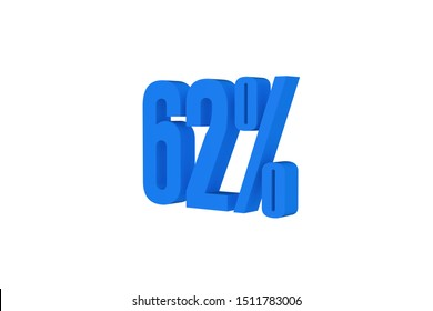 62 percent three-dimensional text in light blue color isolated on white color background, 3d illustration.
