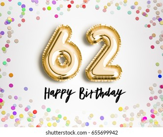 62nd birthday images stock photos vectors shutterstock 62nd birthday celebration with gold balloons and colorful confetti glitters 3d illustration design for your m4hsunfo
