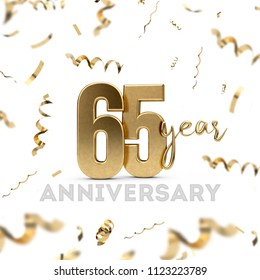 65 year anniversary celebration. Gold number with golden confetti