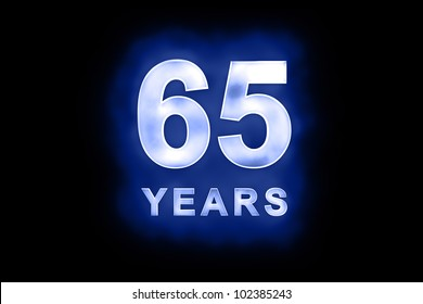 65 Years in glowing white numbers and text with a mottled patterning on blue background suitable for a birthday, celebration or anniversary card or invitation