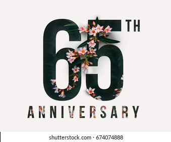 65th Anniversary celebrate illustration design by Real flowers with precious paper cut . For your unique anniversary background, invitation, card, birthday, celebration party of the years anniversary