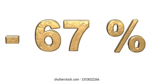 67% of discount. Golden sixty seven percent sale. 3d render isolated on white background