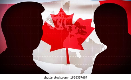 6.8.2021. Ottawa, Canada. Modern Political Federal Elections Background Abstract Concept with Illustration and Flag in the back. Canada elections backdrop design