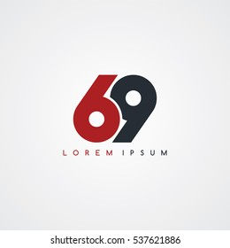 69 number linked uppercase logo black red in white background