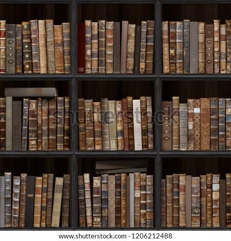 7 Of 30 Black Wood Bookshelf Old Books Seamless Texture Vertically And Horizontally