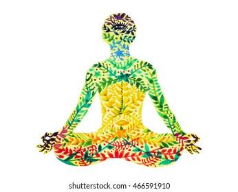7 lotus couleur chakra pose yoga, motif floral de fleur illustration dessinée à la main