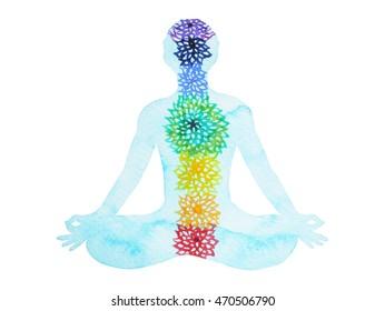 7 chakra color lotus pose yoga, watercolor painting hand drawn design illustration