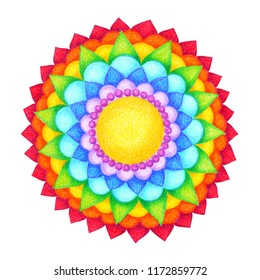 7 color of chakra mandala symbol icon concept flower floral pencil hand drawing illustration design
