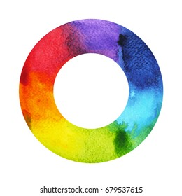 7 color of chakra symbol concept, round circle, watercolor painting hand drawn icon logo, illustration design sign