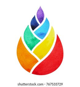 7 color of chakra symbol concept, flower floral leaf, watercolor painting hand drawn icon logo, illustration design sign