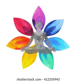 7 color of chakra symbol, lotus flower with human body, watercolor painting hand drawn, illustration design