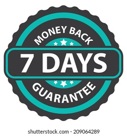 7 Days Money Back Guarantee on Blue Vintage, Retro Sticker, Badge, Icon, Stamp Isolated on White