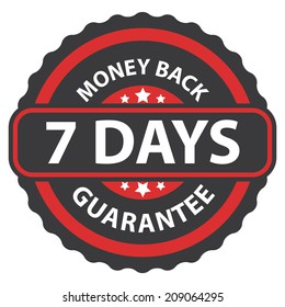 7 Days Money Back Guarantee on Red Vintage, Retro Sticker, Badge, Icon, Stamp Isolated on White