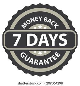 7 Days Money Back Guarantee on Gray Vintage, Retro Sticker, Badge, Icon, Stamp Isolated on White