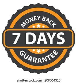 7 Days Money Back Guarantee on Orange Vintage, Retro Sticker, Badge, Icon, Stamp Isolated on White