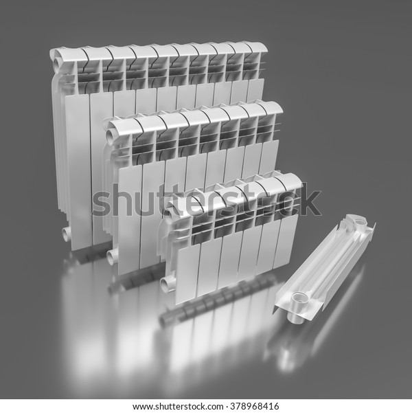 7 Sectional Aluminum Radiators 3d Illustration Stock