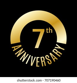 7 year anniversary icon. 7th celebration template for banner, invitation, birthday.