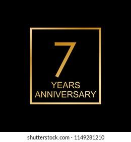 7 years anniversary logo. 7th anniversary celebration label. Design element or banner for birthday, invitation, wedding jubilee.