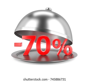 70% Discount red Sign on Restaurant Cloche. 3D Illustration