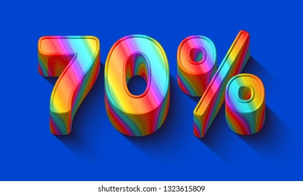 70 percent sale discount with Dazzling rainbows number and supersaturated color background. Realistic 3D render vivid illustration for your brightest trendy sale ads, poster on hot Spring , Summer
