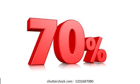70% Red seventy percent on a white background. 3d render illustration.