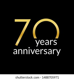 70 years anniversary celebrating icon or logo with gold numbers. Birthday, greeting card design template.