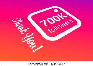 700000 Seven Hundred Thousand Followers, Thank You, Number, Colored Background, Concept Image, 3D Illustration
