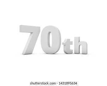 70th Anniversary. 3D Rendering Illustration Isolated On White Background.