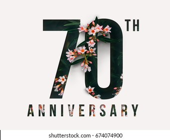 70th Anniversary celebrate illustration design by Real flowers with precious paper cut . For your unique anniversary background, invitation, card, birthday, celebration party of the years anniversary