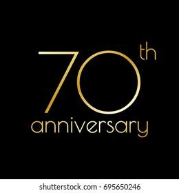 70th anniversary icon. 70 years celebrating and birthday golden logo.