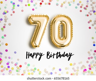 70th Birthday celebration with gold balloons and colorful confetti glitters. 3d Illustration design for your greeting card, birthday invitation and Celebration party of seventy years anniversary