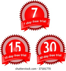 7,15 and 30 day free trial seal icon isolated on white